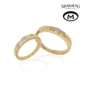 Nhẫn cưới vàng 18K gắn đá cao cấp