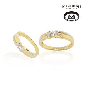 Nhẫn cưới vàng 750 đính đá sang trọng