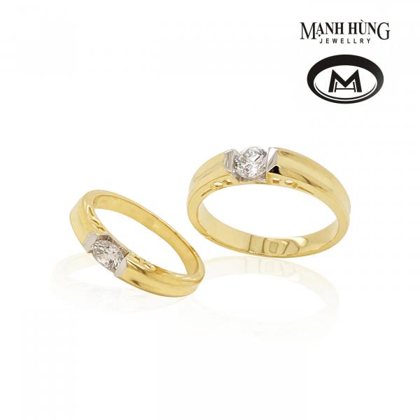 Nhẫn cưới vàng ý 750 đính đá cao cấp