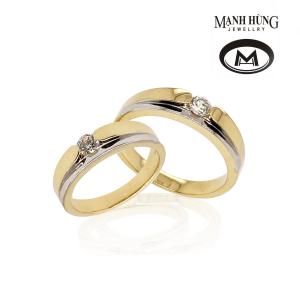 Nhẫn cưới vàng Ý đính đá nhập khẩu